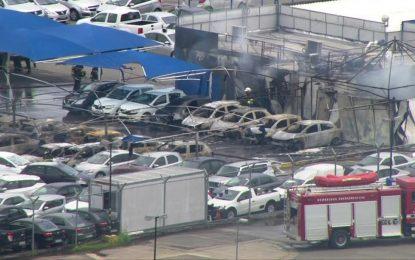 Vídeo mostra incêndio que destruiu locadora de carros perto do Aeroporto de Guarulhos