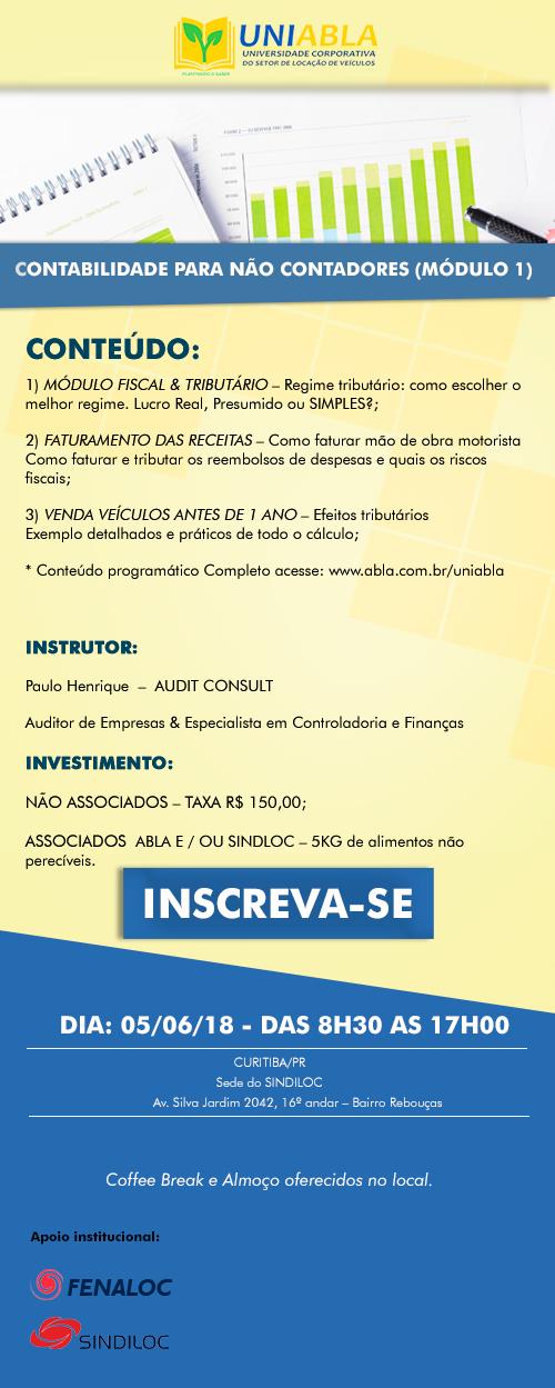 Convite Curso Contabilidade em Curitiba  dia 05/06/18