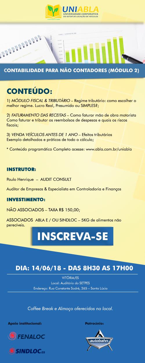 """UNIABLA promoverá em Vitória-ES dia 14 06 o curso """"Contabilidade para não  contadores – Módulo 2"""" f3f01697e54eb"""