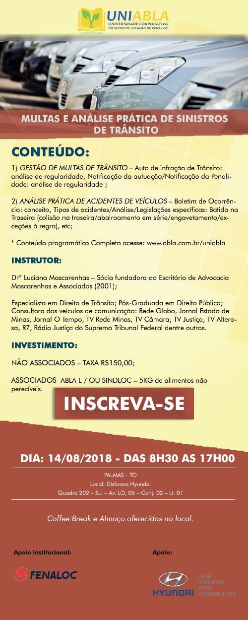 """UNIABLA promoverá em Palmas-TO dia 14/08 o curso """"Multas e Análise Prática de Sinistros de Trânsito"""""""