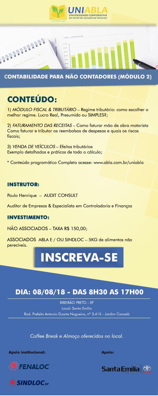 """UNIABLA promoverá em Ribeirão Preto-SP dia 08/08 o curso """"Contabilidade para não contadores – Módulo 2"""""""